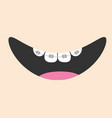 mouth with tooth braces and tongue smiling face vector image vector image