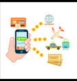 online shopping concept with smartphone vector image vector image