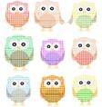 owls icon set isolated on white vector image vector image