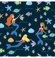Pattern with cartoon mermaid vector image
