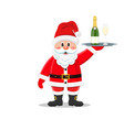 santa claus waiter hold a tray with a bottle vector image vector image