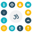 set of 13 editable religion icons includes vector image vector image