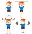 Set of Hipster funny sportsmen doing exercises vector image vector image