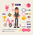 Set of Icons and in Flat Design Style Female vector image vector image