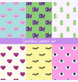 set seamless stickers pattern vector image