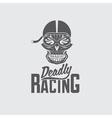 skull racer with flame glasses vintage design vector image vector image