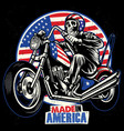 skull ride an american flag painted motorcycle vector image