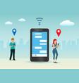 social networking social media marketing on phone vector image