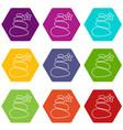 spa balance stones icons set 9 vector image vector image
