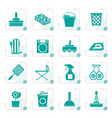 stylized household objects and tools icons vector image