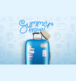 summer travel concept composition with travel bag vector image vector image