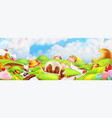 sweet candy land panorama landscape background vector image