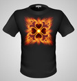 t shirts Black Fire Print man 27 vector image vector image