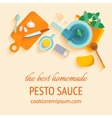 Traditional italian cuisine recipe of pesto souce vector image vector image