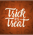 trick or treat - halloween celebration poster with vector image