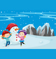 two kids and snowman in the field vector image vector image