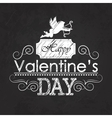 Valentines day emblem on blackboard vector image vector image