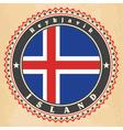 vintage label cards iceland flag vector image vector image