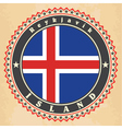 Vintage label cards of Iceland flag vector image