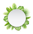 white label with tropic leaves vector image vector image