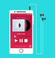 with a mobile phone in flat style with a musical vector image