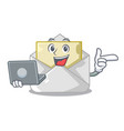 with laptop opened and closed envelopes shaped vector image