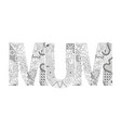 word mum for coloring decorative zentangle vector image vector image
