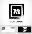 Letter M grunge square logo vector image