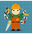 Builder with many arms vector image