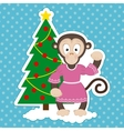 Monkey and Christmas Tree vector image