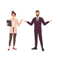 angry female boss and male employee making excuses vector image vector image