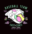 Baseball team emblem skull animal vector image