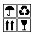 black and white packaging cargo symbols vector image