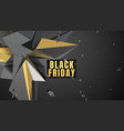 black friday sale dark background with polygonal vector image vector image