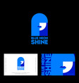 blue neon shine logo business card poster vector image