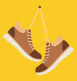 brown shoes hang on laces vector image vector image