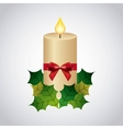 Candle leaves bowtie icon Merry Christmas design vector image vector image