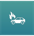 Car fire icon vector image vector image