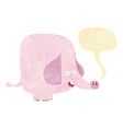 Cartoon pink elephant with speech bubble