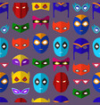 cartoon superhero mask seamless pattern background vector image