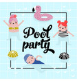 Childish design with cute girls in swimming pool