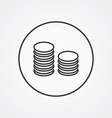 coins symbol outline symbol dark on white vector image vector image