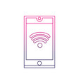 color line smartphone technology with wifi vector image