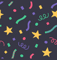 confetti and stars in a flat style holiday vector image