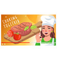 cooking together video tutorial for social vector image vector image
