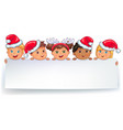 cute kids in caps santa claus holding white blank vector image vector image