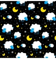 Cute sheeps and clouds chidren pattern vector image