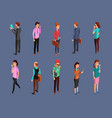different office people standing and using gadgets vector image