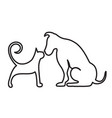 dog and cat line art vector image vector image