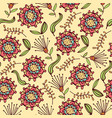 doodle seamless pattern with flowers and leafs vector image